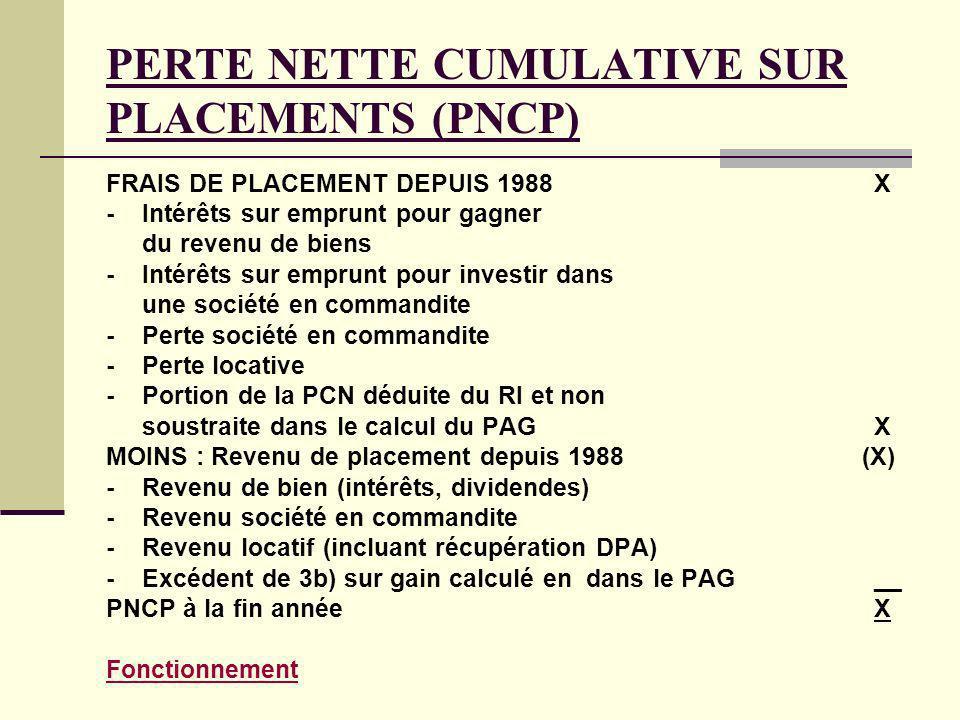 PERTE NETTE CUMULATIVE SUR PLACEMENTS (PNCP) FRAIS DE PLACEMENT DEPUIS 1988 X -Intérêts sur emprunt pour gagner du revenu de biens -Intérêts sur empru