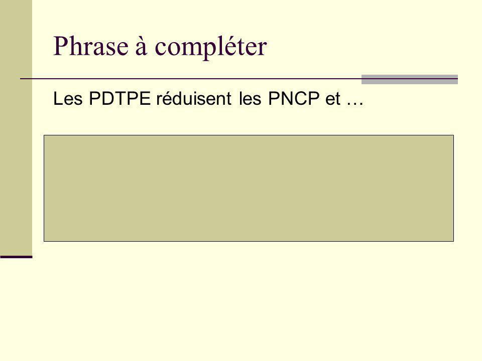 Phrase à compléter Les PDTPE réduisent les PNCP et … Les PNCP diminuent les PDTPE mais celles-ci ne sont pas perdues car elles se transforment en PNC