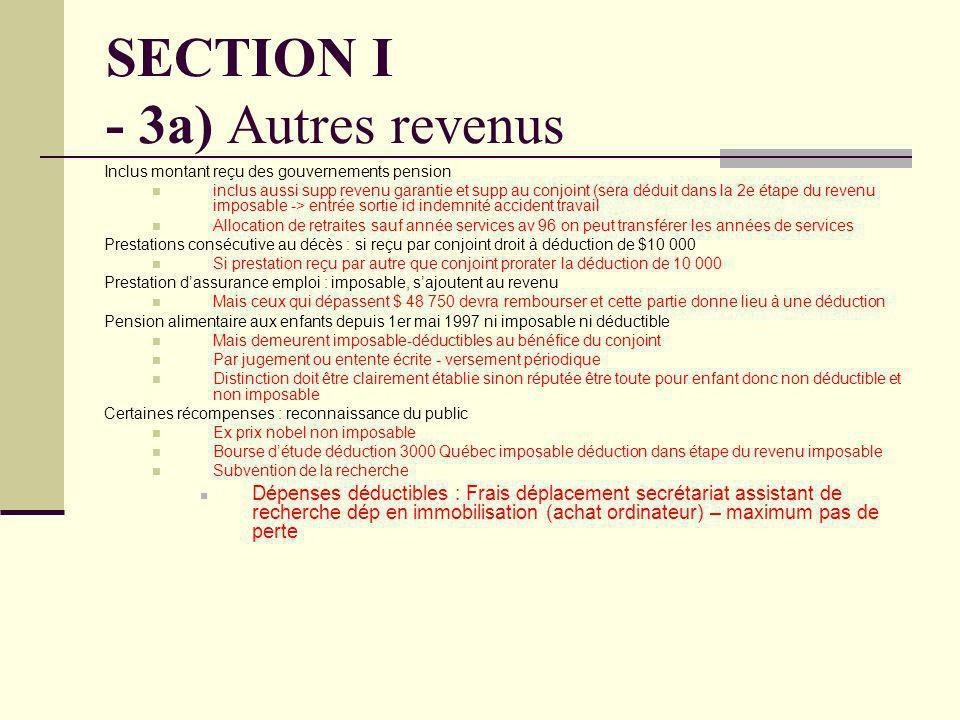 SECTION I - 3a) Autres revenus Inclus montant reçu des gouvernements pension inclus aussi supp revenu garantie et supp au conjoint (sera déduit dans l