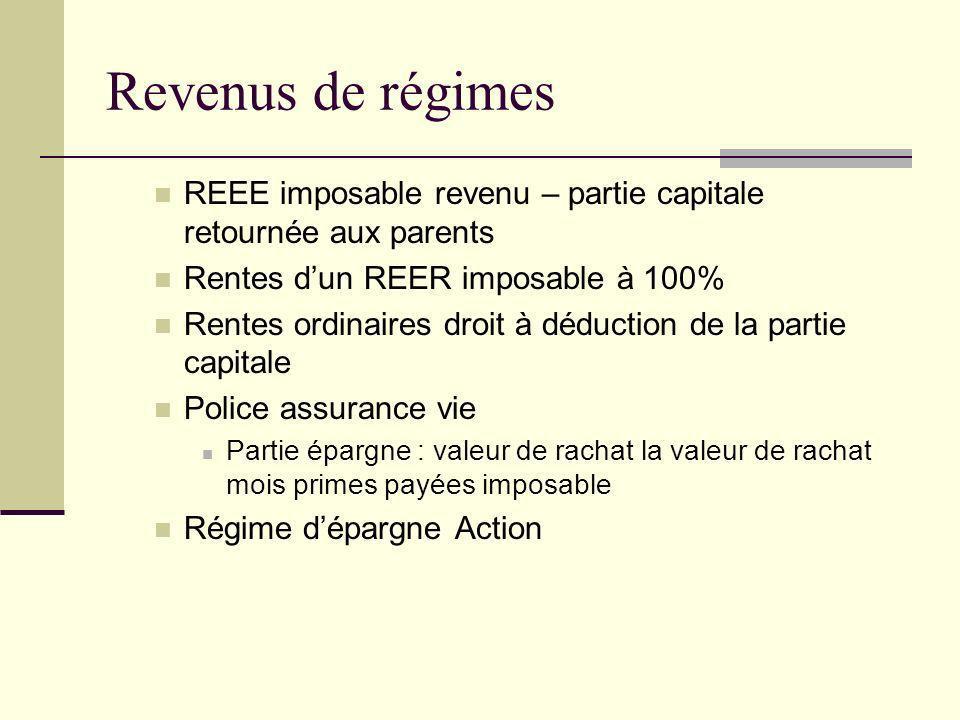 Décès et transfert de REER, RPA, RDB ConjointEnfant - 18 ans+ 18 ans Régime mature (rentier +69 ans) Inclusion des versements de rentes Inclusion de la valeur du régime Régime non mature (rentier -69 ans) Transfert dans REER, RPA, RPDB Retour de c ontribution Transfert en rente jusquà 18 ans Inclusion de versements de rente Inclusion de la valeur du régime Roulement fiscal Imposition