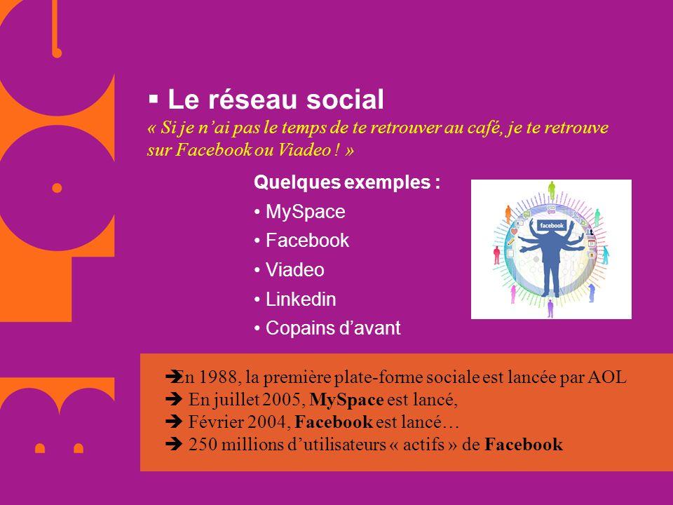 Le réseau social « Si je nai pas le temps de te retrouver au café, je te retrouve sur Facebook ou Viadeo ! » Quelques exemples : MySpace Facebook Viad
