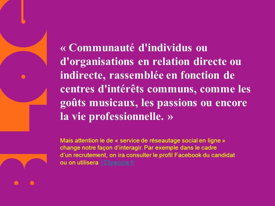 « Communauté d'individus ou d'organisations en relation directe ou indirecte, rassemblée en fonction de centres d'intérêts communs, comme les goûts mu