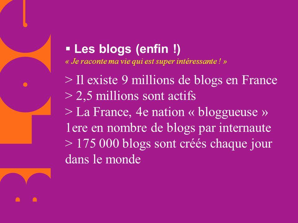 Les blogs (enfin !) « Je raconte ma vie qui est super intéressante ! » > Il existe 9 millions de blogs en France > 2,5 millions sont actifs > La Franc
