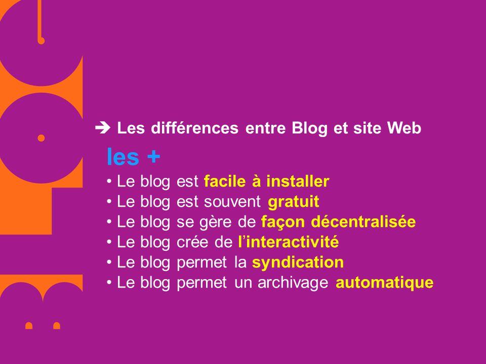 Les différences entre Blog et site Web les + Le blog est facile à installer Le blog est souvent gratuit Le blog se gère de façon décentralisée Le blog