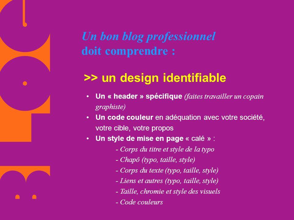 Un bon blog professionnel doit comprendre : >> un design identifiable Un « header » spécifique (faites travailler un copain graphiste) Un code couleur