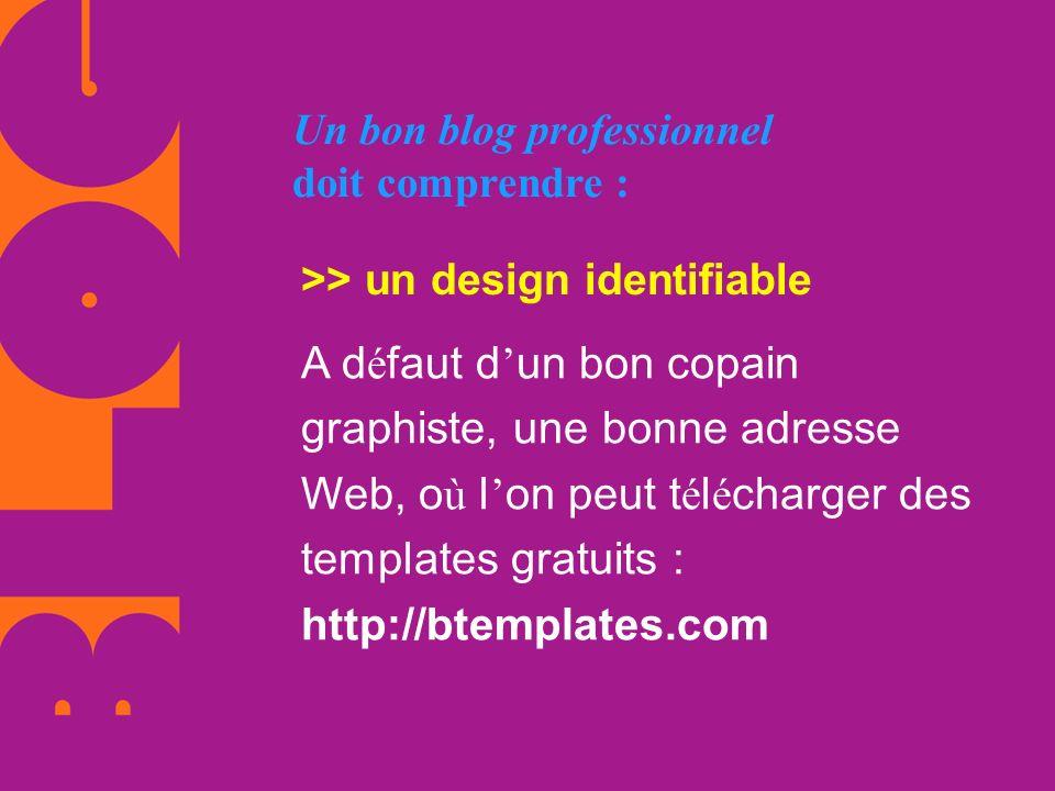 Un bon blog professionnel doit comprendre : >> un design identifiable A d é faut d un bon copain graphiste, une bonne adresse Web, o ù l on peut t é l
