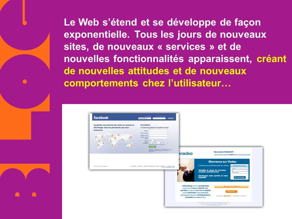 Le Web sétend et se développe de façon exponentielle. Tous les jours de nouveaux sites, de nouveaux « services » et de nouvelles fonctionnalités appar