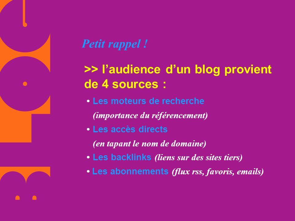 Petit rappel ! >> laudience dun blog provient de 4 sources : Les moteurs de recherche (importance du référencement) Les accès directs (en tapant le no