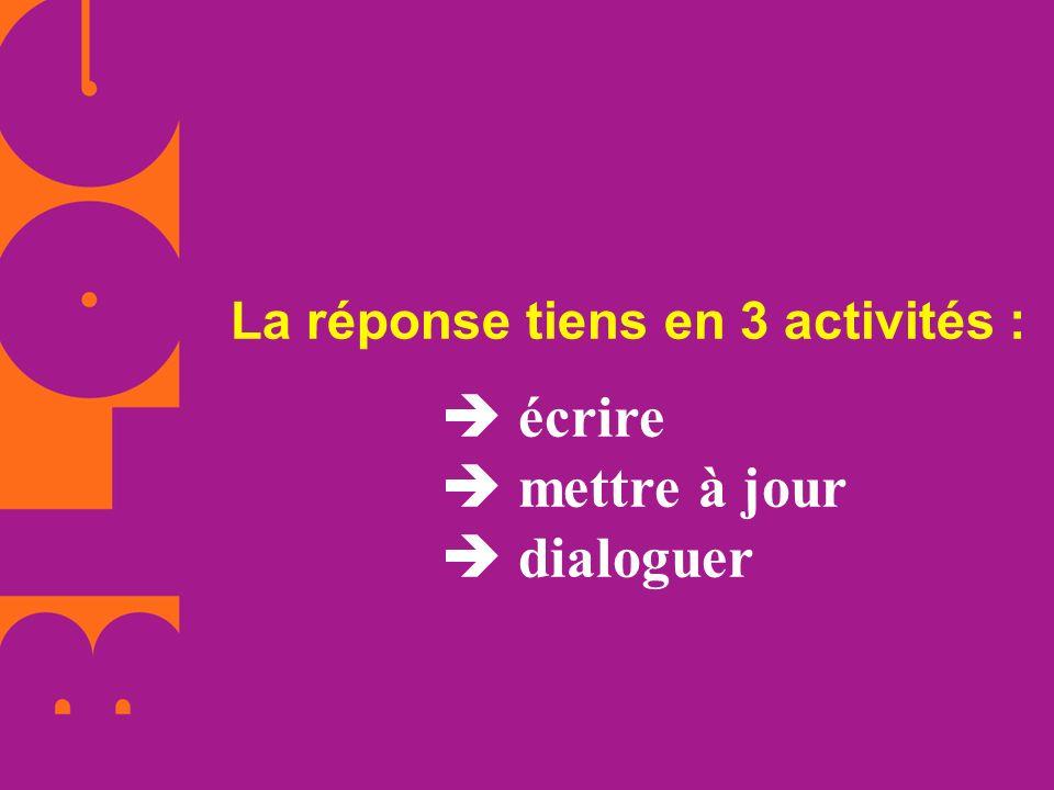 La réponse tiens en 3 activités : écrire mettre à jour dialoguer