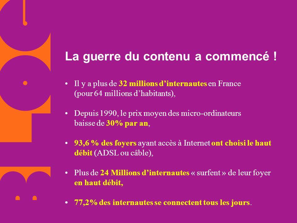 La guerre du contenu a commencé ! Il y a plus de 32 millions dinternautes en France (pour 64 millions dhabitants), Depuis 1990, le prix moyen des micr