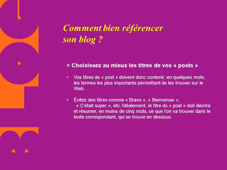 Comment bien référencer son blog ? > Choisissez au mieux les titres de vos « posts » Vos titres de « post » doivent donc contenir, en quelques mots, l