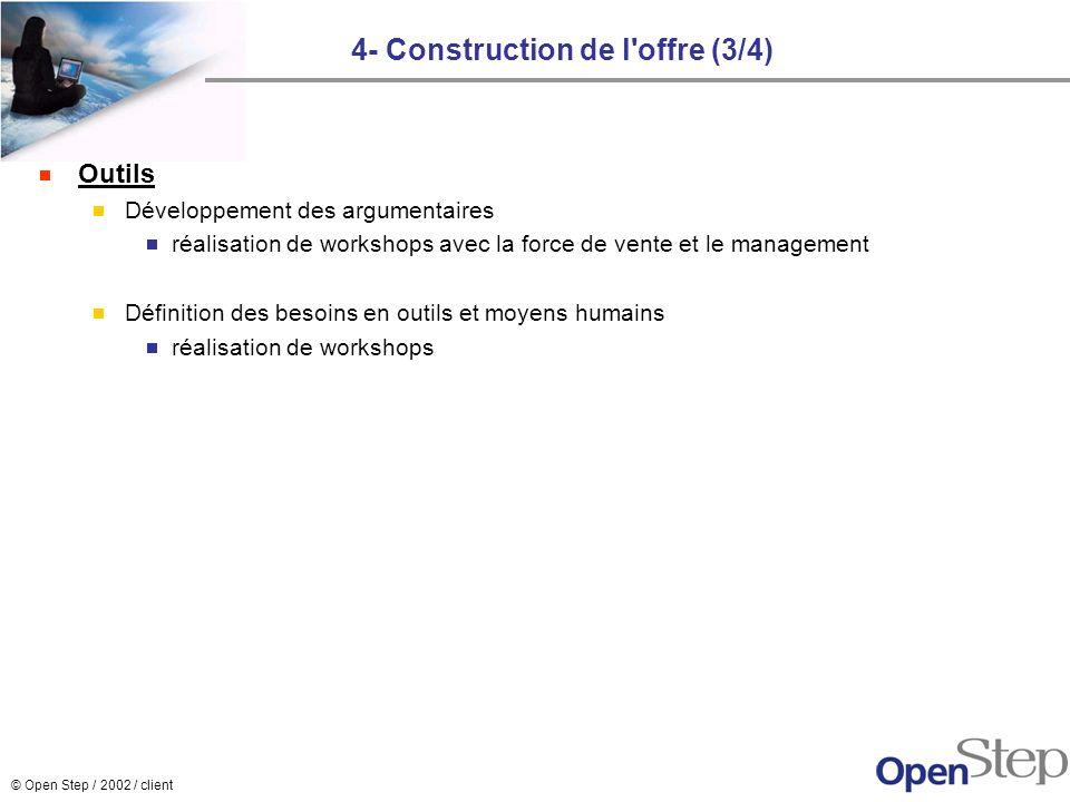 © Open Step / 2002 / client 4- Construction de l'offre (3/4) Outils Développement des argumentaires réalisation de workshops avec la force de vente et