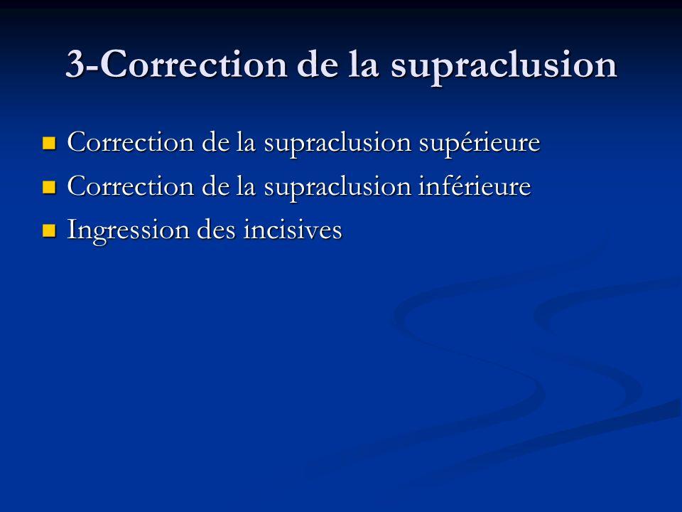 3-Correction de la supraclusion Correction de la supraclusion supérieure Correction de la supraclusion supérieure Correction de la supraclusion inféri