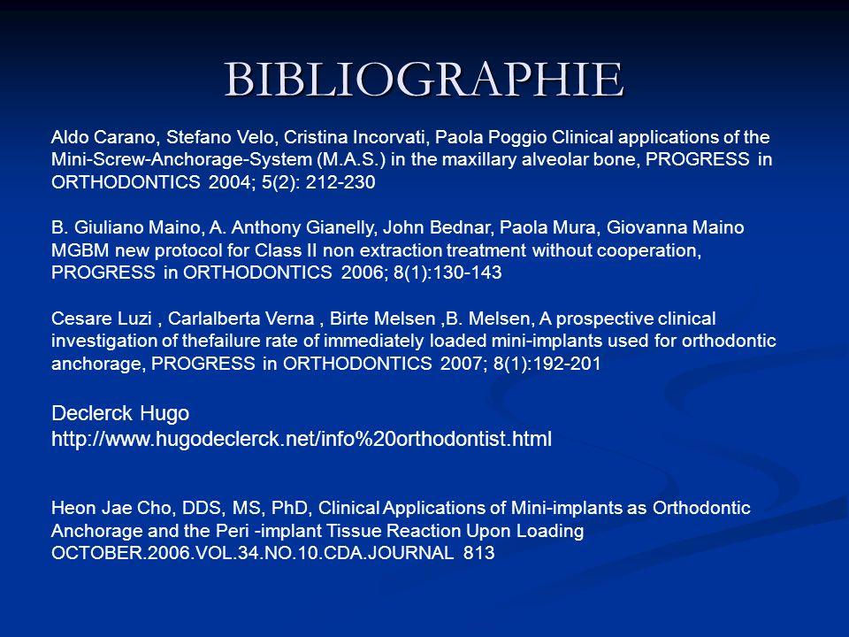 BIBLIOGRAPHIE Aldo Carano, Stefano Velo, Cristina Incorvati, Paola Poggio Clinical applications of the Mini-Screw-Anchorage-System (M.A.S.) in the max