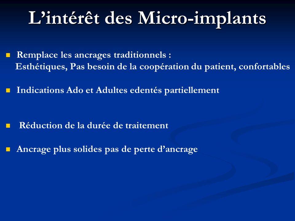 Lintérêt des Micro-implants Remplace les ancrages traditionnels : Esthétiques, Pas besoin de la coopération du patient, confortables Indications Ado e