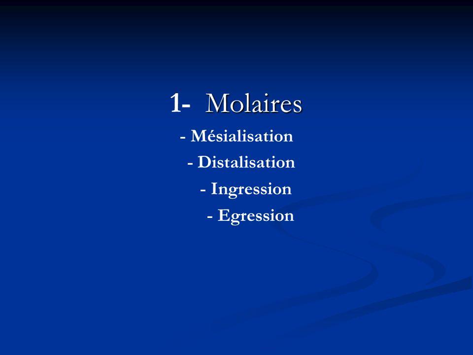 Molaires 1- Molaires - Mésialisation - Distalisation - Ingression - Egression
