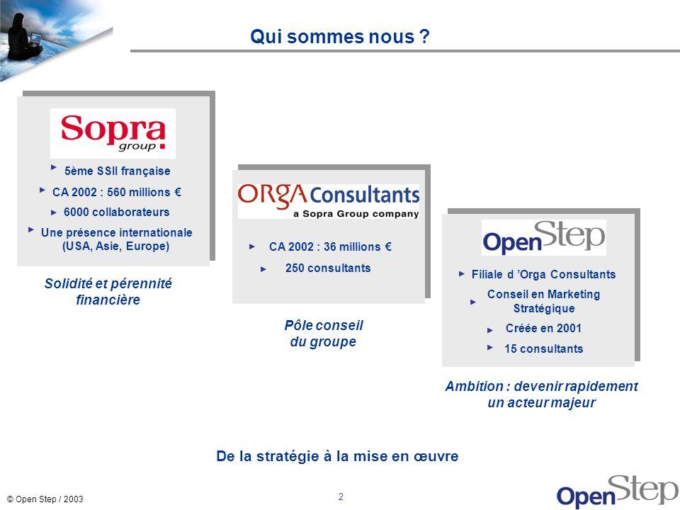 © Open Step / 2003 2 Qui sommes nous ? Filiale d Orga Consultants Conseil en Marketing Stratégique Créée en 2001 15 consultants 5ème SSII française CA