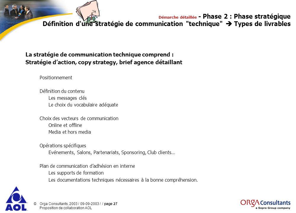 ©Orga Consultants, 2003 / 09-09-2003 / / page 27 Proposition de collaboration AOL La stratégie de communication technique comprend : Stratégie daction