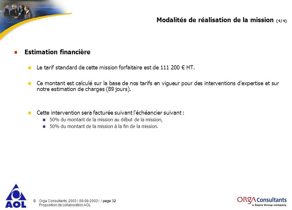 ©Orga Consultants, 2003 / 09-09-2003 / / page 32 Proposition de collaboration AOL Modalités de réalisation de la mission (4/4) Estimation financière L
