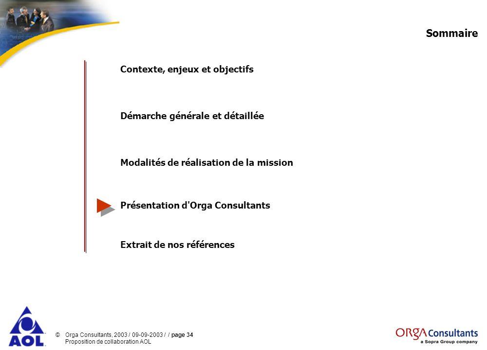 ©Orga Consultants, 2003 / 09-09-2003 / / page 34 Proposition de collaboration AOL Sommaire Contexte, enjeux et objectifs Démarche générale et détaillé