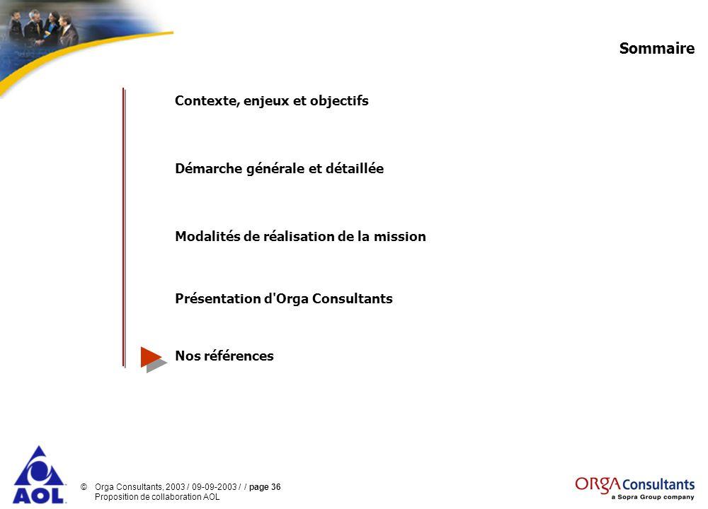 ©Orga Consultants, 2003 / 09-09-2003 / / page 36 Proposition de collaboration AOL Sommaire Contexte, enjeux et objectifs Démarche générale et détaillé