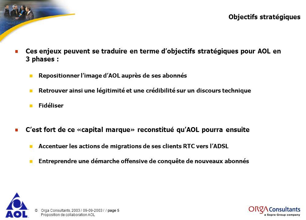 ©Orga Consultants, 2003 / 09-09-2003 / / page 5 Proposition de collaboration AOL Objectifs stratégiques Ces enjeux peuvent se traduire en terme dobjec