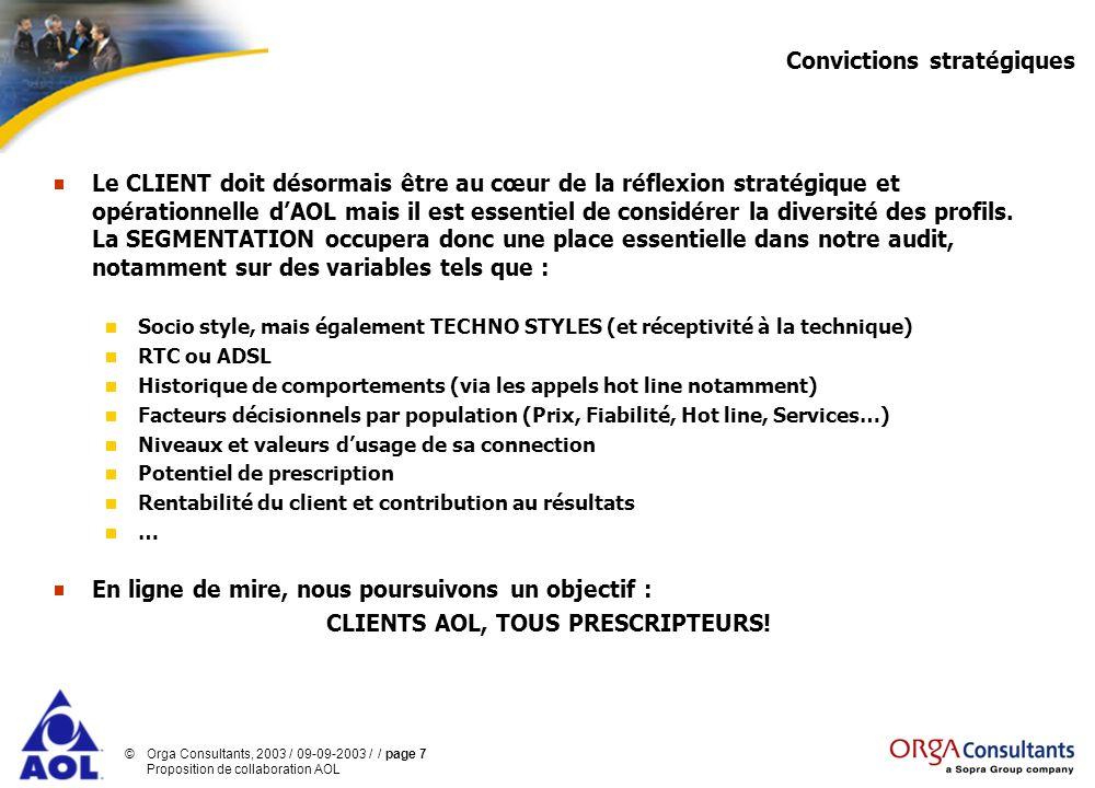©Orga Consultants, 2003 / 09-09-2003 / / page 7 Proposition de collaboration AOL Convictions stratégiques Le CLIENT doit désormais être au cœur de la