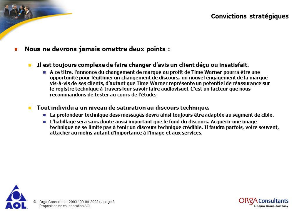 ©Orga Consultants, 2003 / 09-09-2003 / / page 8 Proposition de collaboration AOL Convictions stratégiques Nous ne devrons jamais omettre deux points :