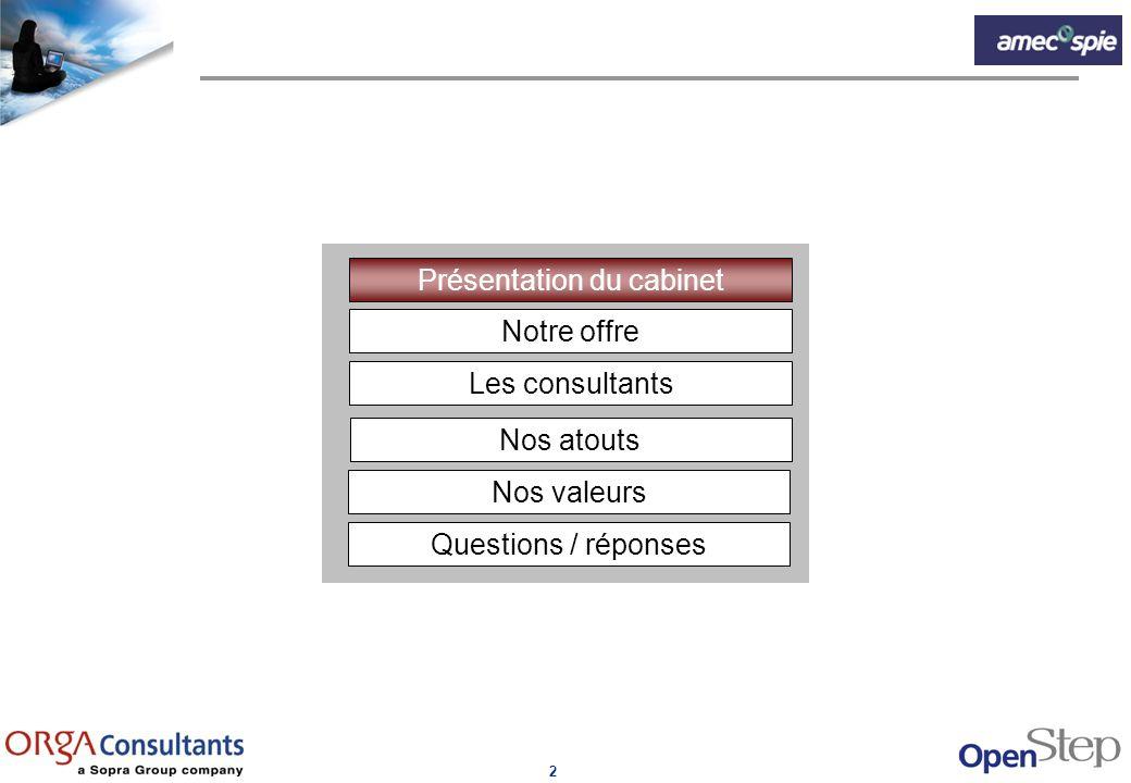 2 Notre offre Présentation du cabinet Les consultants Nos atouts Nos valeurs Questions / réponses