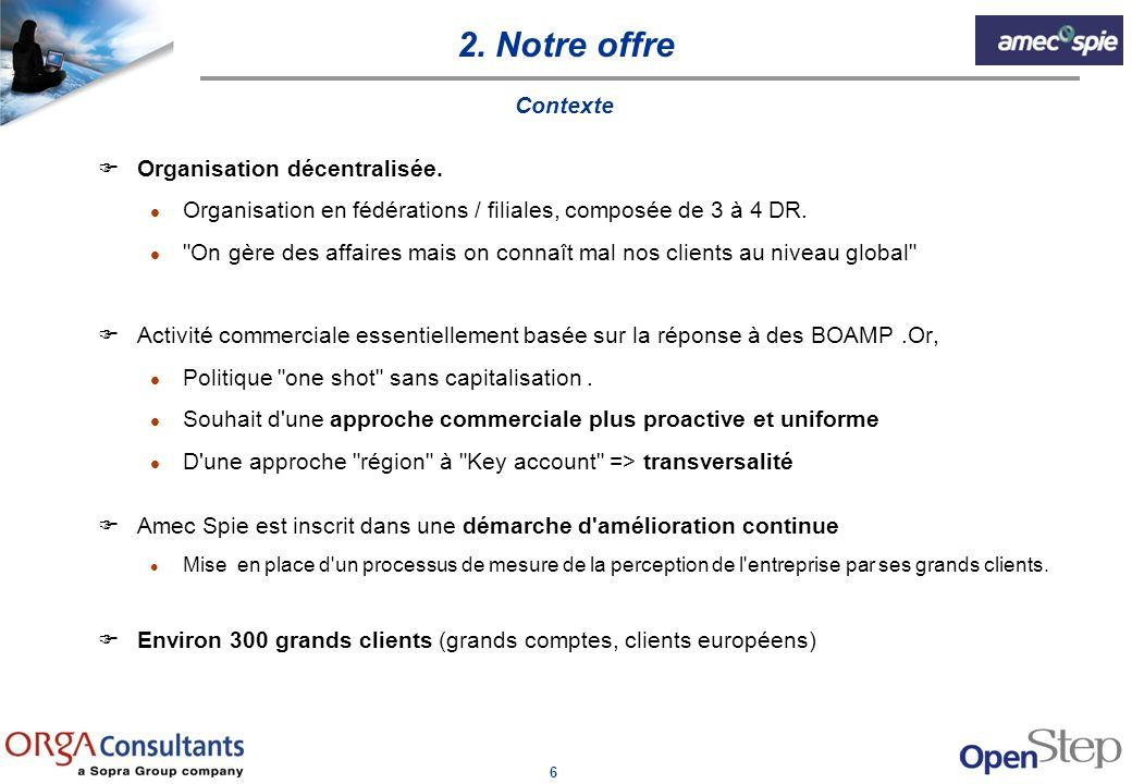 6 2. Notre offre Contexte FOrganisation décentralisée. l Organisation en fédérations / filiales, composée de 3 à 4 DR. l