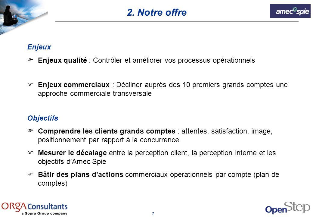 7 Enjeux FEnjeux qualité : Contrôler et améliorer vos processus opérationnels FEnjeux commerciaux : Décliner auprès des 10 premiers grands comptes une
