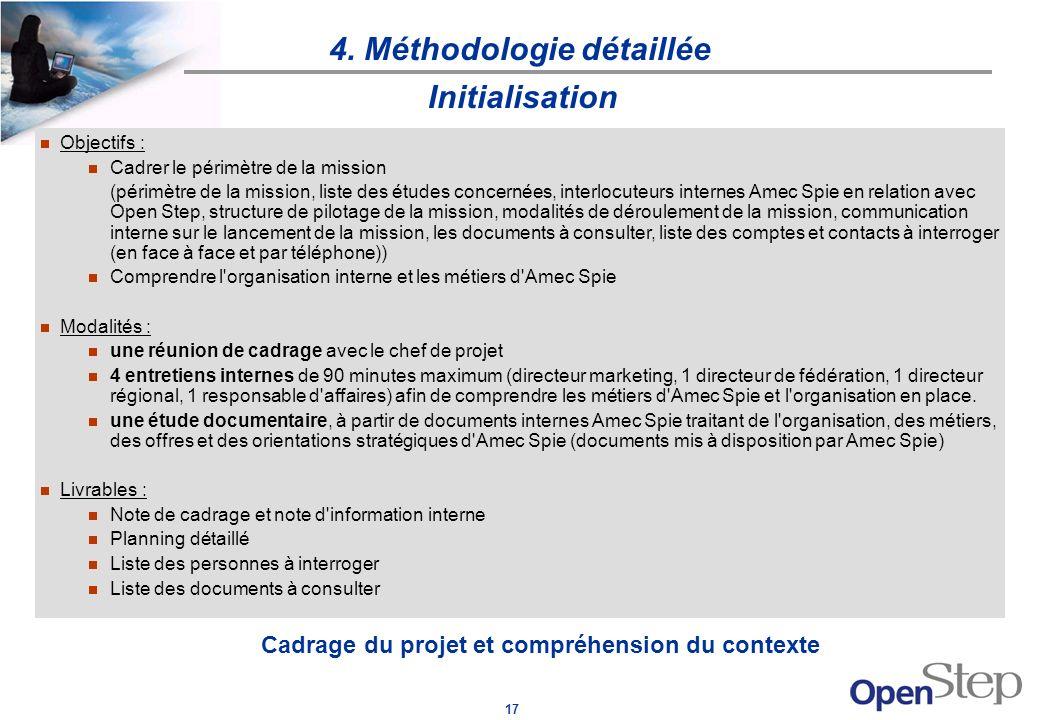 17 4. Méthodologie détaillée Cadrage du projet et compréhension du contexte Initialisation Objectifs : Cadrer le périmètre de la mission (périmètre de