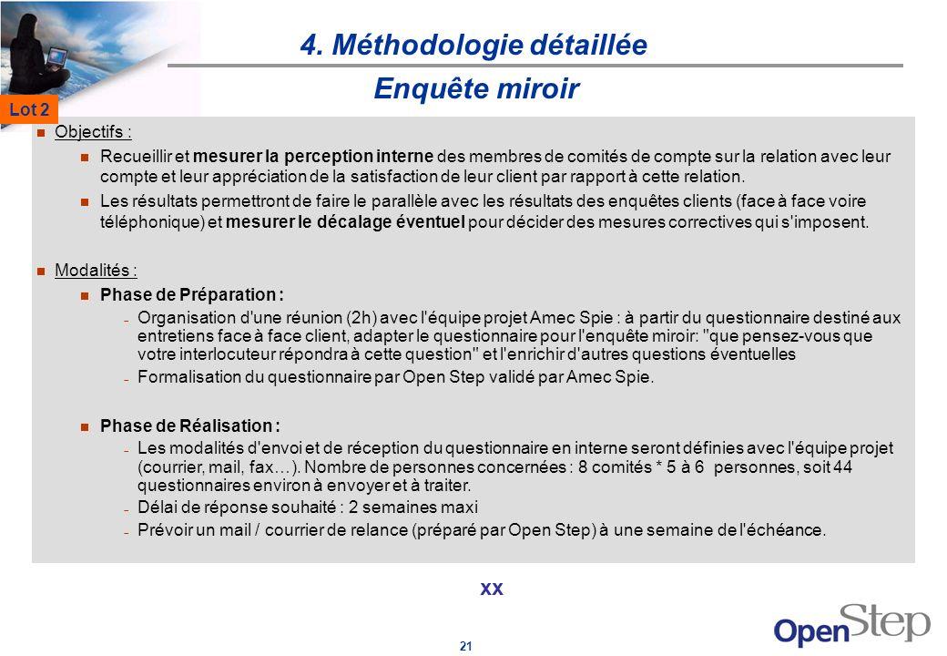 21 4. Méthodologie détaillée xx Enquête miroir Objectifs : Recueillir et mesurer la perception interne des membres de comités de compte sur la relatio