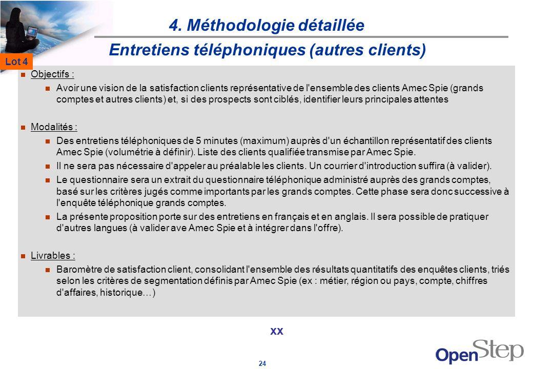 24 4. Méthodologie détaillée xx Entretiens téléphoniques (autres clients) Objectifs : Avoir une vision de la satisfaction clients représentative de l'