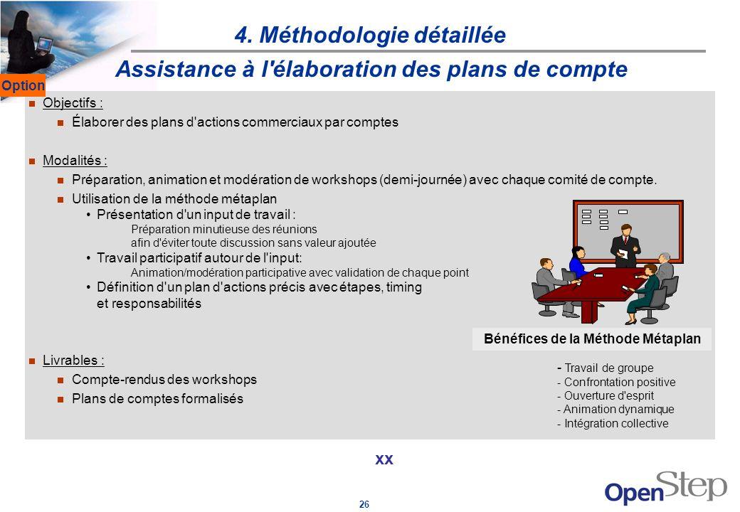 26 4. Méthodologie détaillée xx Assistance à l'élaboration des plans de compte Objectifs : Élaborer des plans d'actions commerciaux par comptes Modali