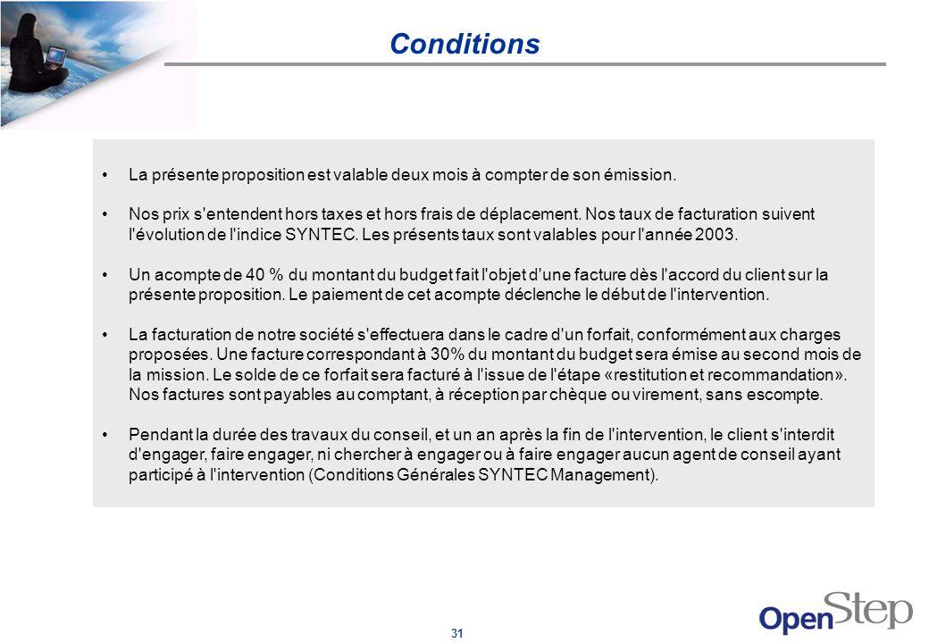 31 Conditions La présente proposition est valable deux mois à compter de son émission. Nos prix s'entendent hors taxes et hors frais de déplacement. N