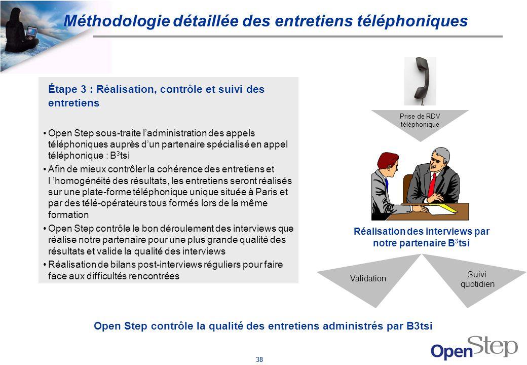 38 Étape 3 : Réalisation, contrôle et suivi des entretiens Open Step sous-traite ladministration des appels téléphoniques auprès dun partenaire spécia