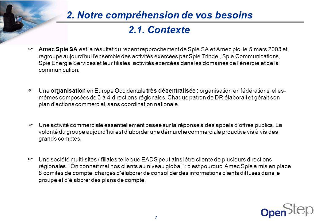 7 2. Notre compréhension de vos besoins 2.1. Contexte FAmec Spie SA est la résultat du récent rapprochement de Spie SA et Amec plc, le 5 mars 2003 et