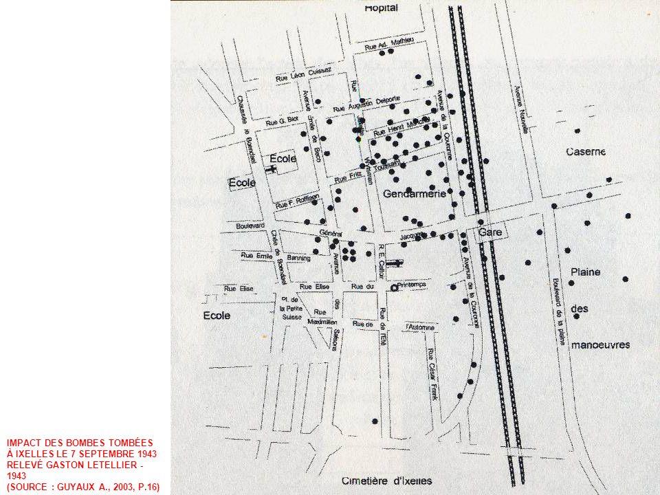 IMPACT DES BOMBES TOMBÉES À IXELLES LE 7 SEPTEMBRE 1943 RELEVÉ GASTON LETELLIER - 1943 (SOURCE : GUYAUX A., 2003, P.16)