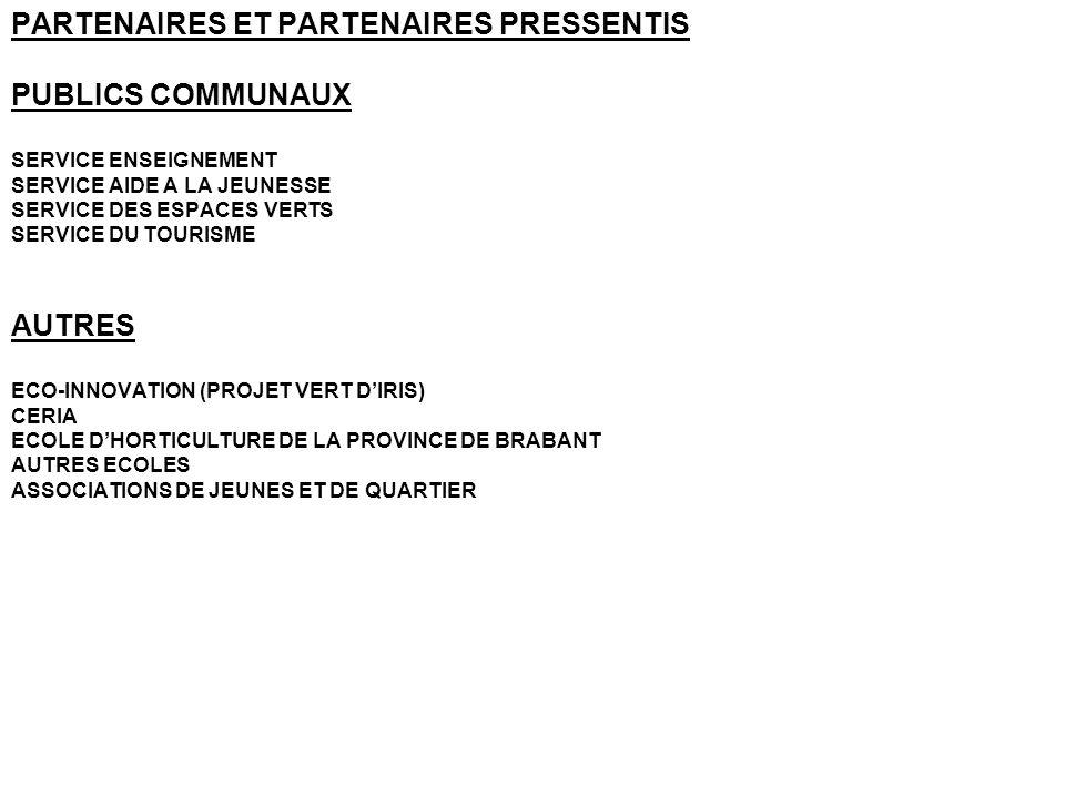 PARTENAIRES ET PARTENAIRES PRESSENTIS PUBLICS COMMUNAUX SERVICE ENSEIGNEMENT SERVICE AIDE A LA JEUNESSE SERVICE DES ESPACES VERTS SERVICE DU TOURISME AUTRES ECO-INNOVATION (PROJET VERT DIRIS) CERIA ECOLE DHORTICULTURE DE LA PROVINCE DE BRABANT AUTRES ECOLES ASSOCIATIONS DE JEUNES ET DE QUARTIER