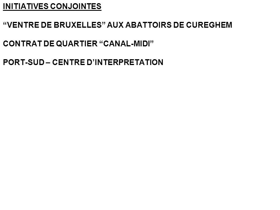 INITIATIVES CONJOINTES VENTRE DE BRUXELLES AUX ABATTOIRS DE CUREGHEM CONTRAT DE QUARTIER CANAL-MIDI PORT-SUD – CENTRE DINTERPRETATION
