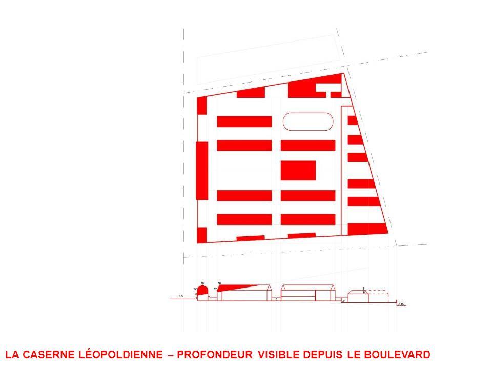 LA CASERNE LÉOPOLDIENNE – PROFONDEUR VISIBLE DEPUIS LE BOULEVARD