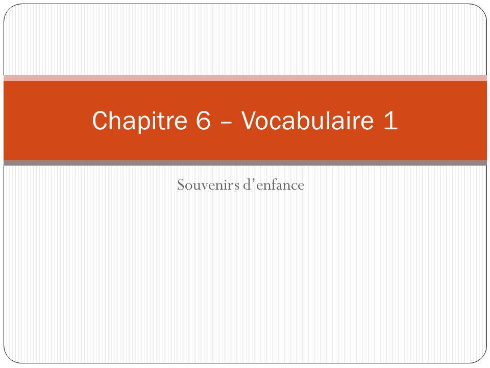 Souvenirs denfance Chapitre 6 – Vocabulaire 1
