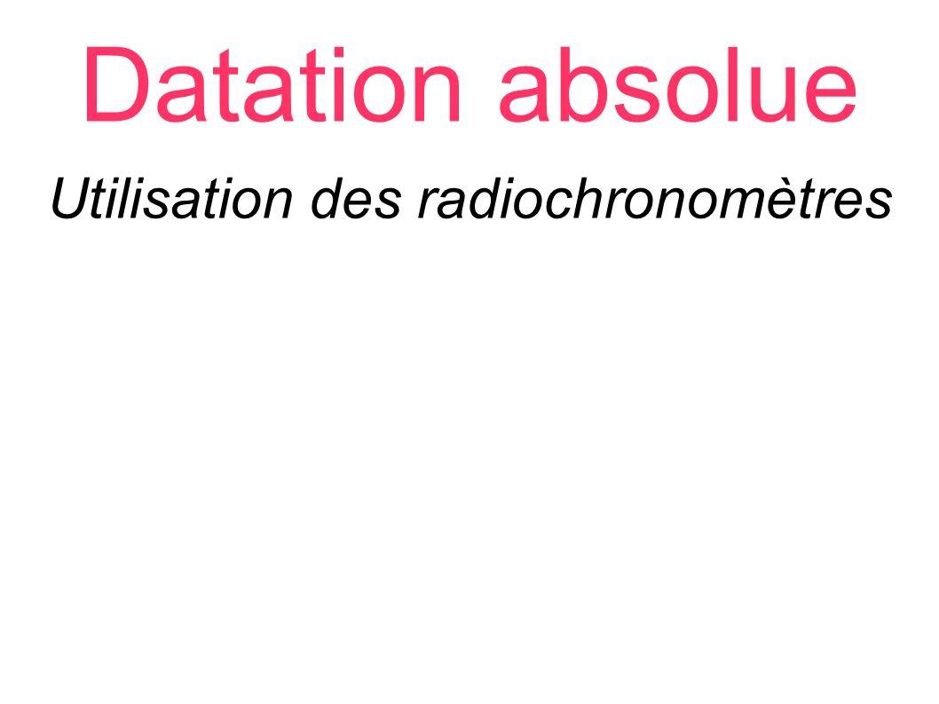 Datation absolue Utilisation des radiochronomètres