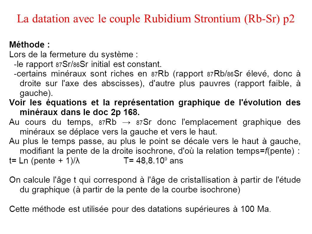 La datation avec le couple Rubidium Strontium (Rb-Sr) p2 Méthode : Lors de la fermeture du système : -le rapport 87 Sr/ 86 Sr initial est constant. -c