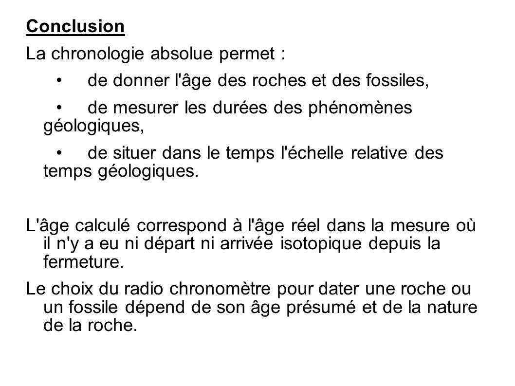 Conclusion La chronologie absolue permet : de donner l'âge des roches et des fossiles, de mesurer les durées des phénomènes géologiques, de situer dan