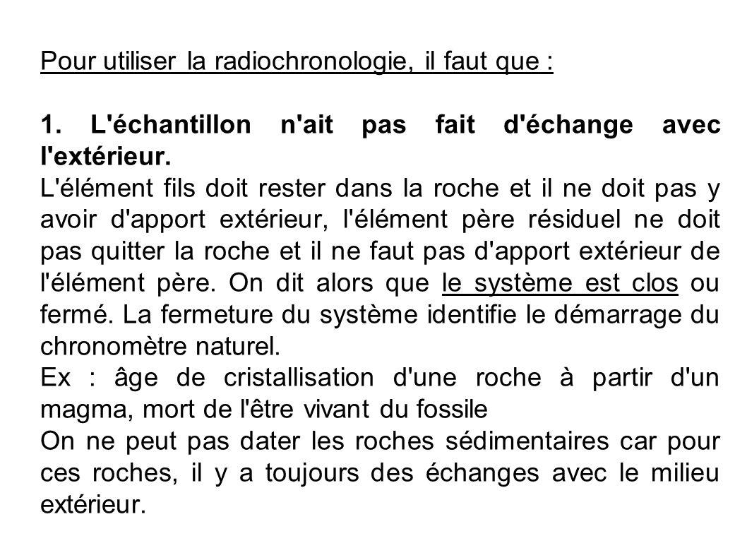 Pour utiliser la radiochronologie, il faut que : 1. L'échantillon n'ait pas fait d'échange avec l'extérieur. L'élément fils doit rester dans la roche
