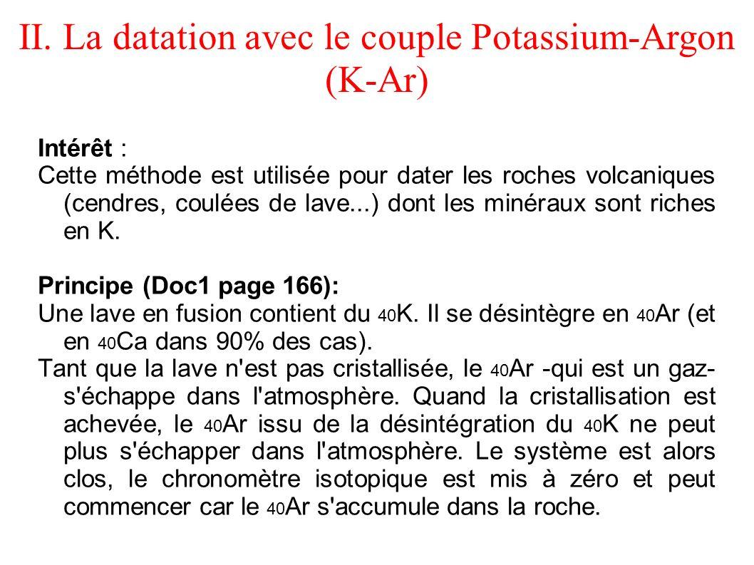 Intérêt : Cette méthode est utilisée pour dater les roches volcaniques (cendres, coulées de lave...) dont les minéraux sont riches en K. Principe (Doc