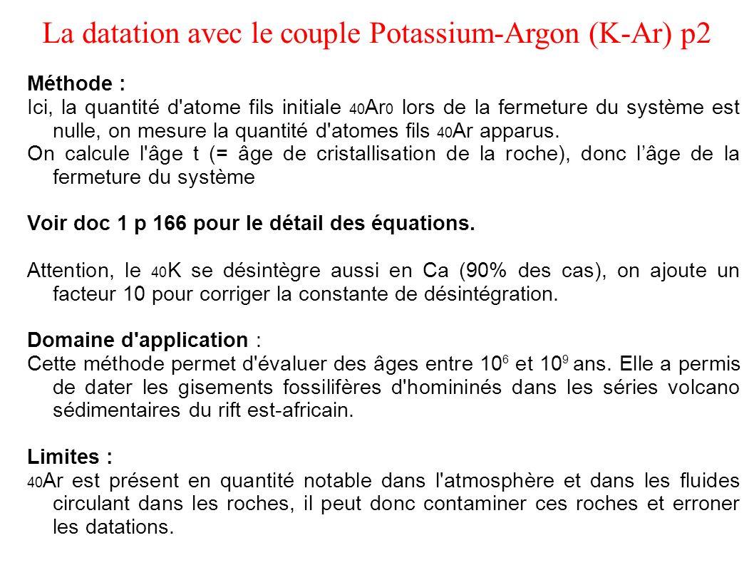 Méthode : Ici, la quantité d'atome fils initiale 40 Ar 0 lors de la fermeture du système est nulle, on mesure la quantité d'atomes fils 40 Ar apparus.