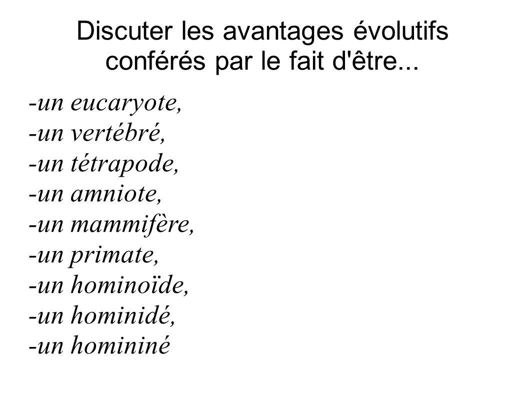 Discuter les avantages évolutifs conférés par le fait d'être... -un eucaryote, -un vertébré, -un tétrapode, -un amniote, -un mammifère, -un primate, -